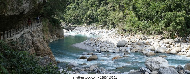 shakadang Hiking Trail in Taroko National Park near Hualien in Taiwan, China.