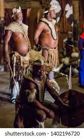 Shakaland Zulu Cultural Village, KwaZulu-Natal, South Africa - December 2016: traditional Zulu dancers