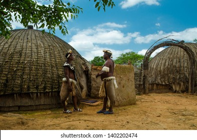 Shakaland Zulu Cultural Village, KwaZulu-Natal, South Africa - December 2016: Zulu warriors talking