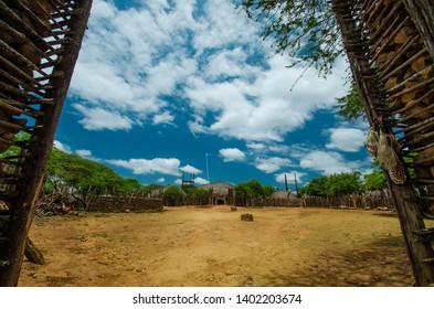 Shakaland Zulu Cultural Village, KwaZulu-Natal, South Africa - December 2016: Zulu village courtyard