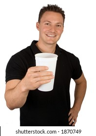 A shake or beverage is being offered.
