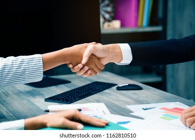 Shake hands Collaboration work co operating with affirmative agreement in doing business To project work together communication tool target teamwork Organizational success. Close up business partner