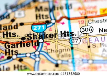 Shaker Heights Ohio Usa On Map Stock Photo Edit Now 1131352580