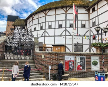Shakespeare's Globe theatre, an Elizabethan playhouse in the London Borough of Southwark, UK 07/06/2019. The original theatre was built in 1599, destroyed by fire in 1613.