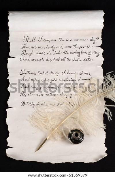 Shakespeares Sonnet 18 Auf Alter Papierrolle Stockfoto