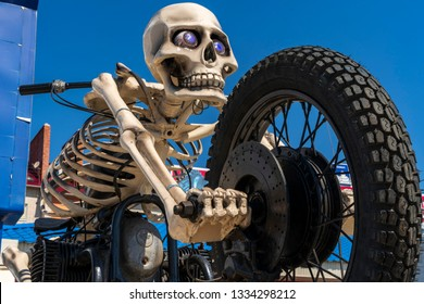 SHAKHTY, RUSSIA - JULY 15, 2018: Bike with frame-skeleton adorns the local bike club