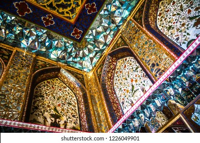 SHAKI, AZERBAIJAN - 3 JUNE 2017. The interior of the Palace of Shaki Khans, decorated with colorful ornaments, Azerbaijan