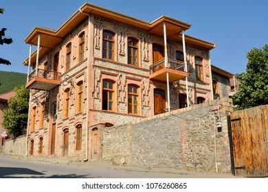 Shaki, Azerbaijan - August 13, 2017. Historic mansion in Shaki, Azerbaijan