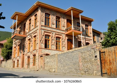 Shaki, Azerbaijan - August 13, 2018. Historic mansion in Shaki, Azerbaijan
