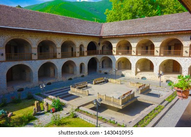 Shaki is a nice place to take a break for Caravanserai passengers in the middle ages on the historical caravanserai and the silk road. Caravanserai Shaki, Azerbaijan. 8 June 2019