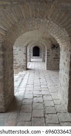 Shaki (Sheki), Azerbaijan - August 14, 2017 - Interior of the 18th century Shaki (Sheki) Caravanserai