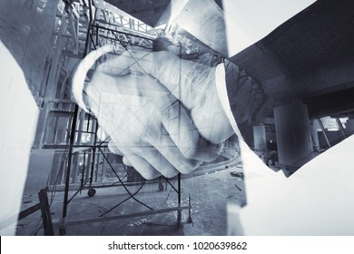 Shaking hands against the backdrop of a construction site, collage, multi-exposure
