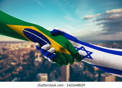Shaking Hands Brazil and Israel