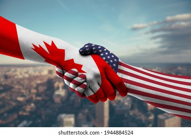 Shaking Hands Canada and US