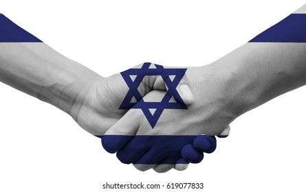 shaking hands Israel flag on isolated white background