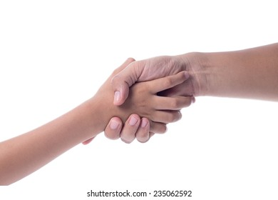 Shaking hands of man and boy , on white