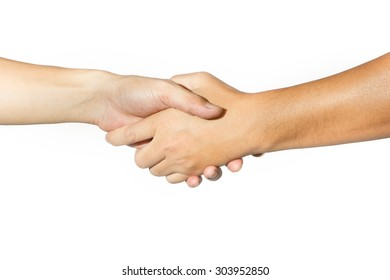 Shaking hands of two people on white background