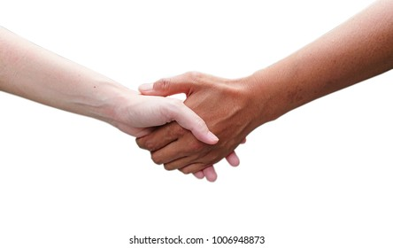 Shaking hands with white background, picture have clipping path.