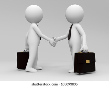 shaking hands/Two 3d people are shaking hands