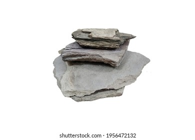 Shale sedimentary rocks isolated on white background.