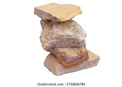 Schiefergestein oder klastisches sedimentäres Steinisolat auf weißem Hintergrund