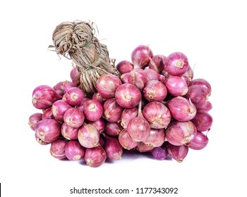 Shallot onions in a group on white background.