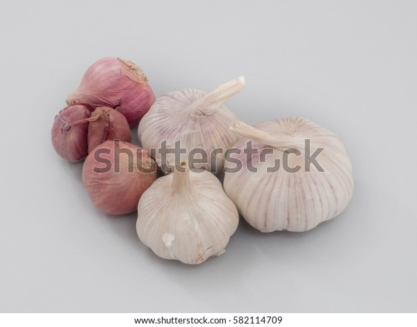 shallots and Garlic. Group isolated on white background.
