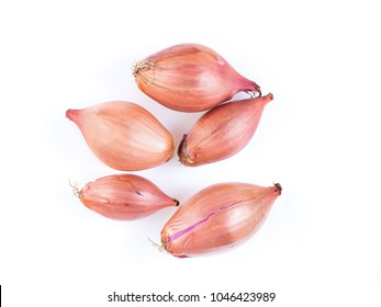 shallots onion on white background, bulbs, top view