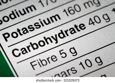 Shallow depth of Field image of Nutrition Facts Carbohydrate Information we can find on a grocery Store Product.