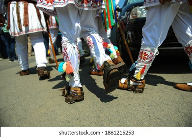 Shallow depth of field (selective focus) image with the footwear of the Romanian traditional dancers Calusarii.