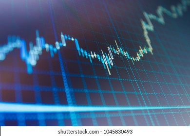 Shallow DOF. Conceptual view of the foreign exchange market. Statistic graph of stock market data and financial analysis. Stock diagram on the screen. Bitcoin market graph on the screen.