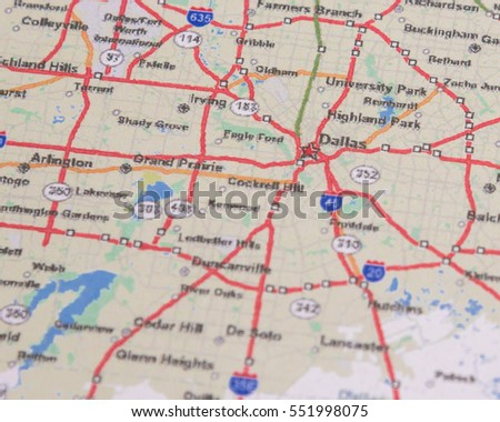 Dallas On A Map Of Texas.Shallow Dof Dallas On Map Texas Stock Photo Edit Now 551998075
