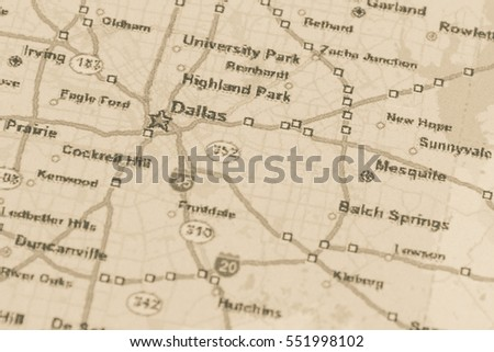 Dallas On A Map Of Texas.Shallow Dof Dallas On Map Texas Stock Photo Edit Now 551998102