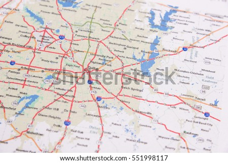 Dallas On A Map Of Texas.Shallow Dof Dallas On Map Texas Stock Photo Edit Now 551998117