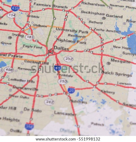 Dallas On A Map Of Texas.Shallow Dof Dallas On Map Texas Stock Photo Edit Now 551998132