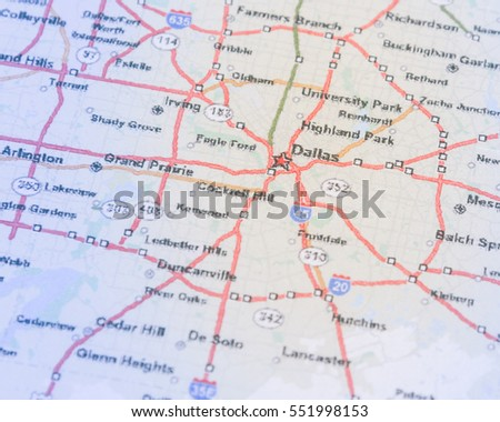 Dallas On A Map Of Texas.Shallow Dof Dallas On Map Texas Stock Photo Edit Now 551998153
