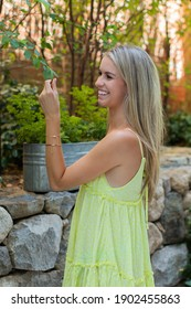 A shallow focus of a pretty young smiling blonde female in a light summer yellow dress posing in the street touc a green tree branch