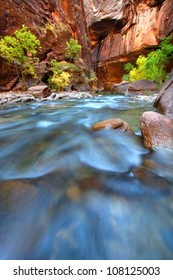 Shallow rapids of the Virgin River Narrows in Zion National Park - Utah