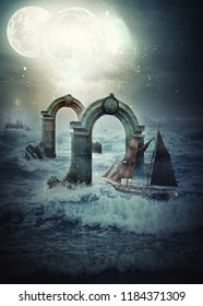 Shallow and rocky waters of mystery ocean sparkling with the white roller waves has the only safe fairway under two ancient granite arches. The sail ship approaches to the first arch with clock