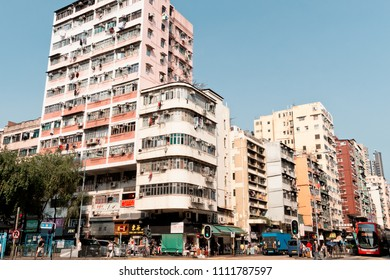 Sham Shui Po, Hong Kong - 11 June 2018: Cheung Sha Wan Road is those in the garment industry.