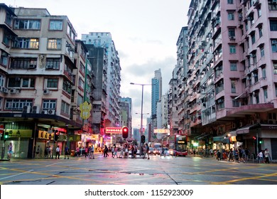 Sham Shui Po, Hong Kong - 18 July 2018: Cheung Sha Wan Road is those in the garment industry.
