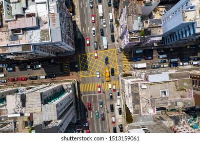 Sham Shui Po, Hong Kong 12 September 2019: Top down view of Hong Kong city