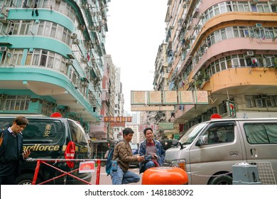 Sham Shui Po, Hong Kong-15th March 2019: Street view of Sham Shui Po. It is known for its street market for electronic device and old housing.