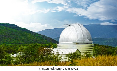 Shamakhi Astrophysical Observatory. Panoramic view taken in summer season. One of the largest observatories in the world. Shamakhi, Azerbaijan. April 22, 2017