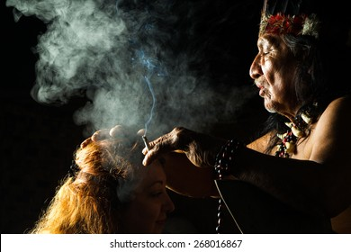 Shaman In Ecuadorian Amazonia During A Real Ayahuasca Ceremony Model Released Images As Seen In April 2015