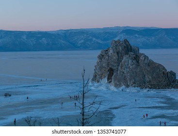 Shaman Rock at northern of Olkhon Island at Baikal Lake  in Russia; in winter water in the lake to be ice at and have many tourist visit this place.