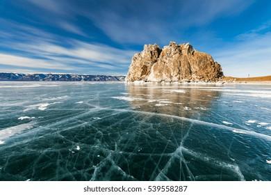 Shaman Rock, winter Lake Baikal. Siberia Russia