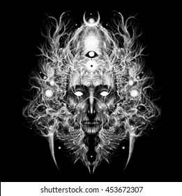 Shaman, wizard, fantastic, forest, magic. Graphic illustration in black background