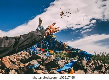 Shamanic buddhist stupa on the pass in Mongolia. Offroad trails.