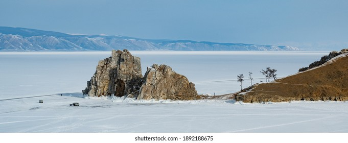 Shamanic ritual on the Olkhon Island on the Baikal lake, in Russia. Panoramic view of the sacred and chamanic roc
